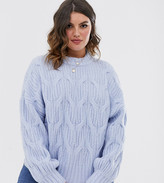 Urban Bliss Plus balloon sleeve cable knit sweater