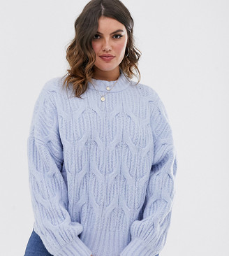 Urban Bliss Plus balloon sleeve cable knit sweater-Blue