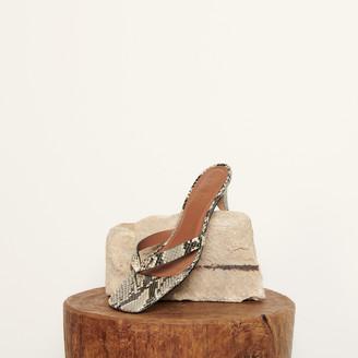 Sandro Embossed leather mid-heel flip-flops