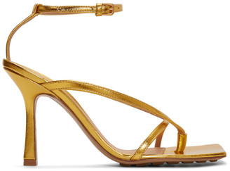 Bottega Veneta Gold Stretch Heeled Sandals