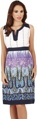 Pistachio Ladies Paisley Print Knee Length Tunic Blouse Dress