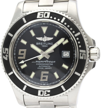 Breitling Black Stainless Steel Superocean Automatic A17391 Men's Wristwatch 44 MM
