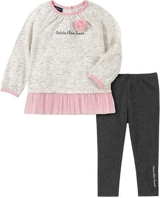 Calvin Klein Jeans Girls' Leggings ASSORTED - Ivory & Pink Logo Tunic & Gray Leggings - Infant