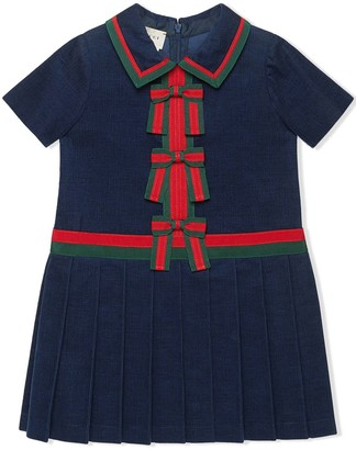 Gucci Kids Bow Embellished Corduroy Dress