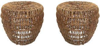 One Kings Lane Vintage Woven Rattan Stools - Set of 2 - Tobe Reed