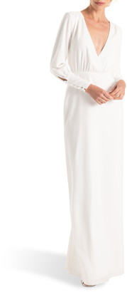Joanna August Page Long Sleeve Column Wedding Dress