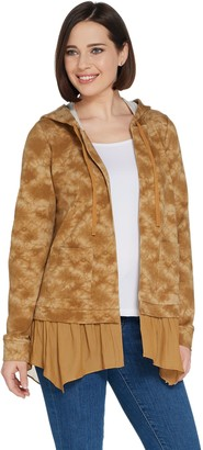 Logo by Lori Goldstein LOGO Lounge by Lori Goldstein French Terry Open Front Hoodie w/ Crepe