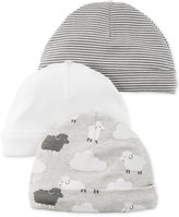 Carter's Baby Boys' or Baby Girls' 3-Pack Little Lamb Beanie Caps
