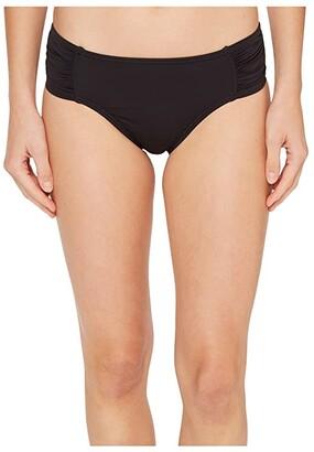 Tommy Bahama Pearl High-Waist Side-Shirred Bikini Bottom (Black) Women's Swimwear