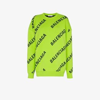 Balenciaga oversized intarsia logo sweater