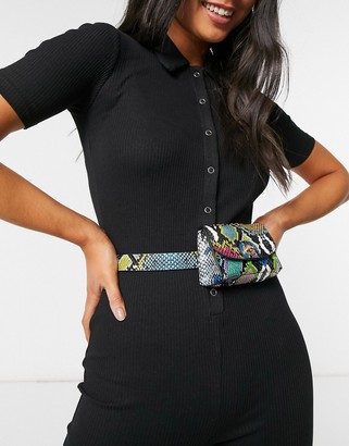Asos Design DESIGN bright snake purse waist and hip belt with chain detail in multi