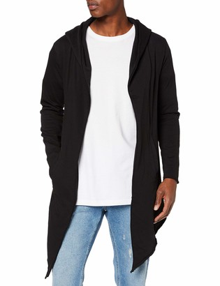 Urban Classics Men's Hooded Edge Long Frayed Sleeve Sweatshirt with Hoodie Open Front Cardigan