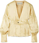 By Malene Birger Felipe Belted Washed-satin Top - Gold