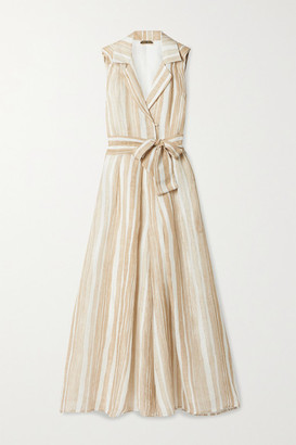 Cult Gaia Sybil Striped Linen And Silk-blend Jumpsuit - Beige