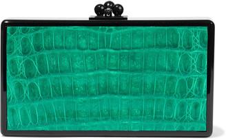 Edie Parker Jean Faux Croc-effect Leather-paneled Acrylic Box Clutch