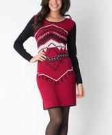 Yuka Paris Black & Carmine Geometric Xena Dress