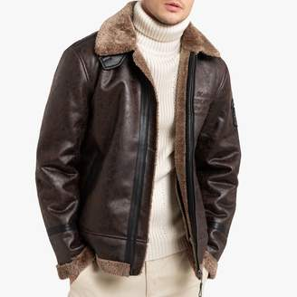 Petrol Industries JAC108 Faux Leather Aviator Jacket with Faux Fur Lining and Pockets
