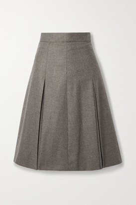 Akris Pleated Checked Wool Skirt - Mushroom