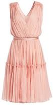 Stella McCartney Plisse Chiffon V-Neck A-Line Gown