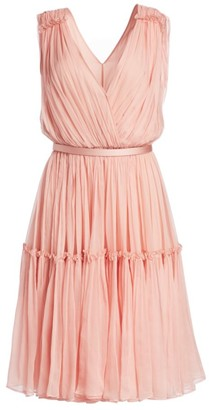 Stella McCartney Plisse Chiffon V-Neck A-Line Gown