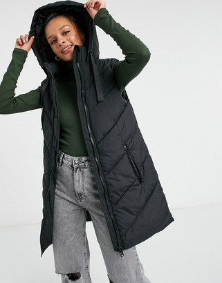 JDY padded lightweight gilet with hood in black