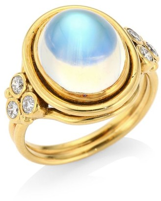 Temple St. Clair 18K Yellow Gold, Royal Blue Moonstone & Diamond Oval Ring