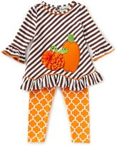 Rare Editions Baby Girls 3-24 Months Thanksgiving Pumpkin Stripe A-Line Dress & Printed Leggings Set