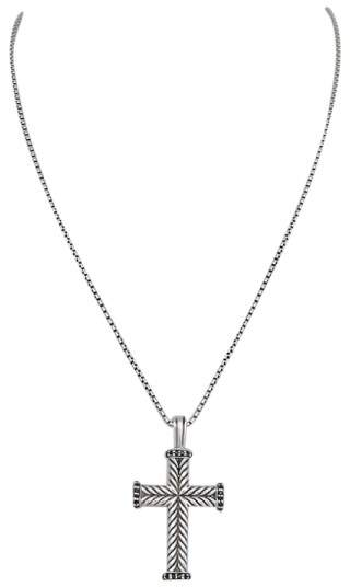 David Yurman 925 Sterling Silver & 14K Yellow Gold with Black Diamond Cross Necklace