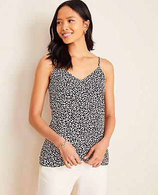 Ann Taylor Cheetah Print Drapey Cami