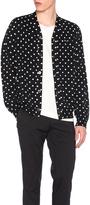 Comme des Garcons Dot Print Wool Cardigan with Black Emblem