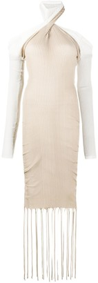 Bottega Veneta Two-Tone Halterneck Knit Dress