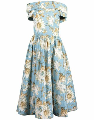 Oscar de la Renta French Blue Printed Off Shoulder Midi Dress