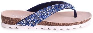 Linzi JANA - Blue Diamante Toe Post Sandal With Cleated Sole