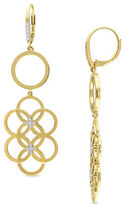 Catherine Malandrino 18K Goldplated and 0.2TCW Diamond Circle Linked Floral Drop Earrings