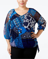 INC International Concepts Plus Size Patchwork-Print Blouse, Only at Macy's
