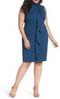 Adrianna Papell Plus Size Women's Ruffle Front Knit Crepe Sheath Dress