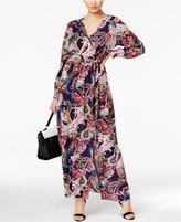 ECI Paisley-Print Faux-Wrap Maxi Dress