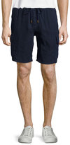 Vilebrequin Solid Linen Cargo Shorts, Bleu Marine