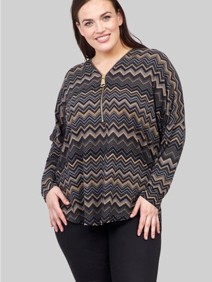 M&Co Izabel Curve chevron print zip sweater