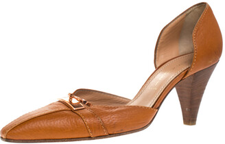 Casadei Brown Leather Padlock Detail Half D'orsay Pumps Size 37.5
