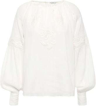 Joie Mitney Embroidered Cotton-gauze Blouse