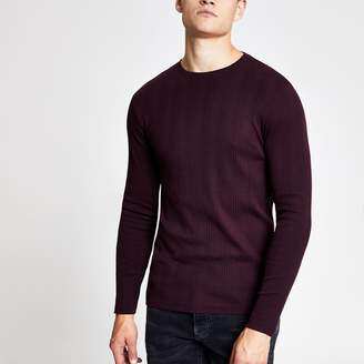 River Island Mens Burgundy ribbed long sleeve slim fit T-shirt