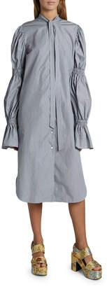 Dries Van Noten Doves Tie-Neck Poplin Tiered-Sleeve Shirtdress