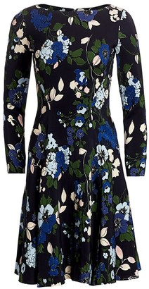 Lela Rose Floral Georgette Fit-&-Flare Dress