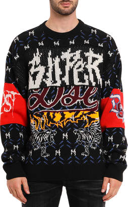 Diesel Men's Graphic Intarsia Crewneck Sweater