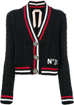 No.21 stripe trim cardigan