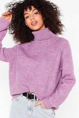 Nasty Gal Womens Knit's Anyones Game Oversized Turtleneck Jumper - White - M