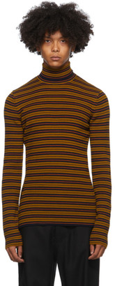 Dries Van Noten Brown and Navy Striped Sweater