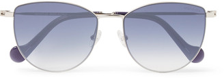 Moncler Round-Frame Acetate And Silver-Tone Sunglasses