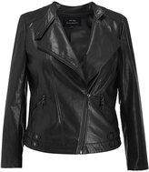 MSSHE Women's Faux Leather Jacket Plus Size Zipper Biker PU Jacket